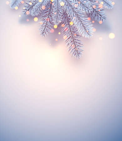 Frosted blue spruce branches. Bokeh lights. Space for text. Poster, flyer, card. Vector illustration.