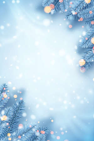 Frosted blue spruce branches in corners. Bokeh lights. Space for text. Card, poster, flyer template. Winter Xmas vector illustration. Ilustrace