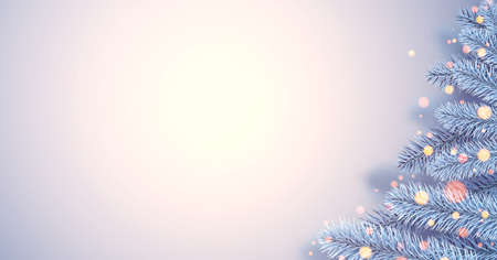 Frosted blue spruce branches as half of Christmas tree. Bokeh lights. Space for text. Vector illustration. Ilustrace