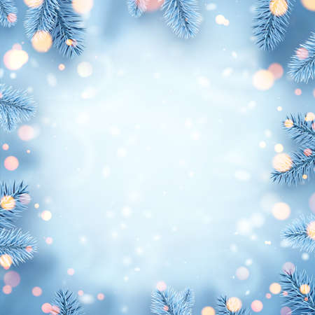 Frosted blue spruce branches frame. Bokeh lights. Space for text. Card, poster, flyer template. Winter Xmas vector illustration. Ilustrace