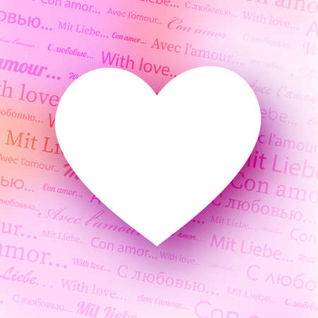 With love text pattern pink gradient background. White empty heart shape frame. Different languages. Valentine's Day. Vector illustration. 向量圖像