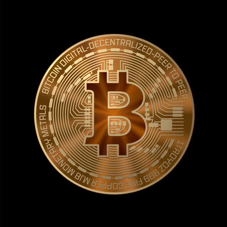 Golden crypto currency bitcoin on black background. Isolated physical bit coin. Icon, button. Vector illustration. Ilustrace