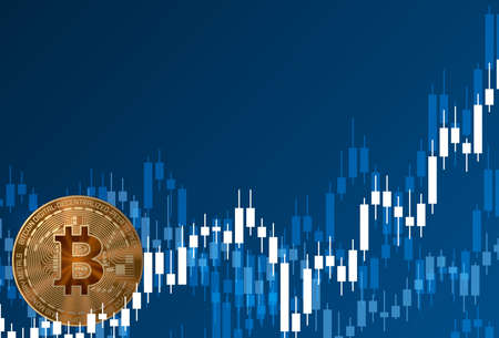 Golden crypto bitcoin currency with growth chart. Blue background. Poster, banner. Vector illustration.