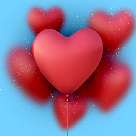 Red heart shape balloon. Blurred balloons. Blue background. Holiday, Birthday, Valentine's Day. Vector illustration.