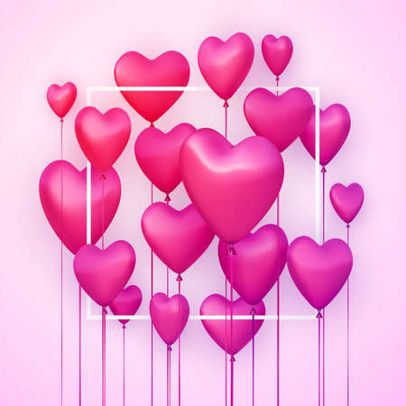 Pink square background with realistic 3d heart balloons. Vector illustration.