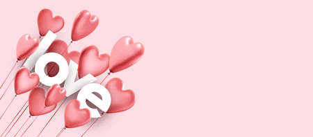 Pink love background with realistic 3d heart balloons. Vector illustration.