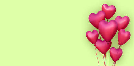 Green banner with realistic 3d pink heart balloons. Vector illustration.