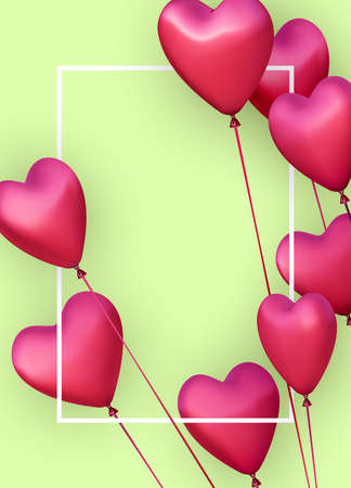 Green vertical banner with realistic 3d pink heart balloons. Vector illustration.
