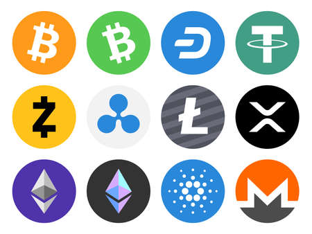Set of colored cryptocurrency icons collection. Vector illustration.