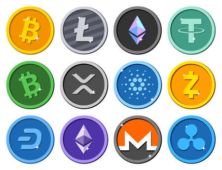 Set of colored shiny cryptocurrency icons collection. Vector illustration.