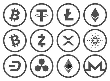 Set of cryptocurrency flat black and white icons collection. Vector illustration. Vectores
