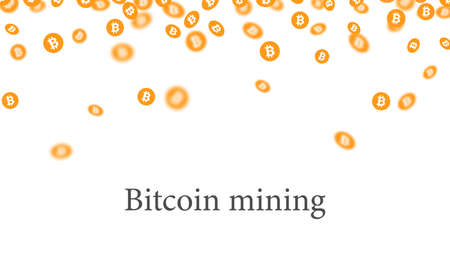 Orange Bitcoin mining falling confetti. Vector illustration.