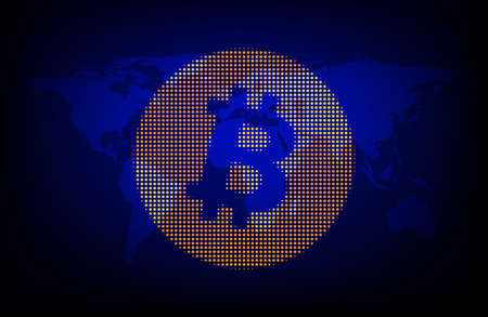 Bitcoin cryptocurrency. Abstract global background. Vector illustration.