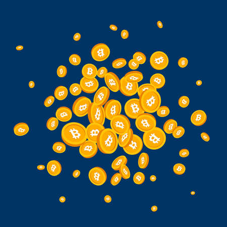 Background with 3d golden Bitcoin coins. Vector illustration.