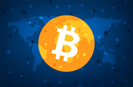 Bitcoin cryptocurrency. Abstract wireframe global mesh background. Vector illustration.