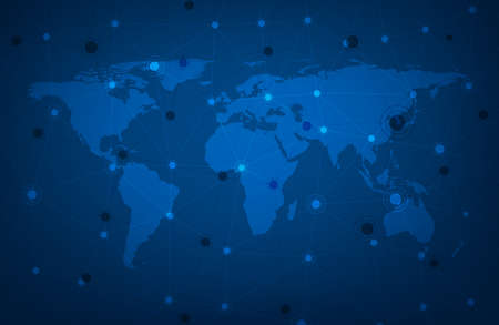 Blue global communication map with polygonal mesh. Vector illustration. Vectores