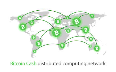 Bitcoin cash cryptocurrency. Abstract global background. Vector illustration.