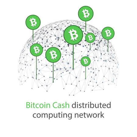 Bitcoin cash cryptocurrency. Abstract wireframe globe mesh background. Vector illustration.