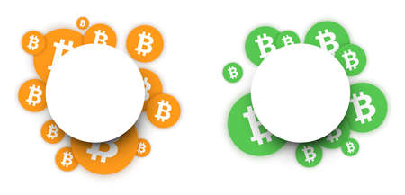 Bitcoin cryptocurrency. Abstract round paper background. Vector illustration.