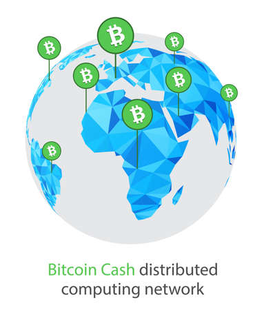 Bitcoin cash cryptocurrency. Abstract globe background. Vector illustration. Vectores