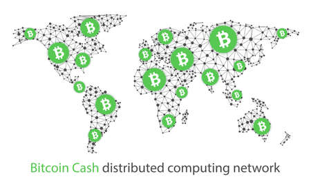 Bitcoin cash cryptocurrency. Abstract wireframe global mesh background. Vector illustration.