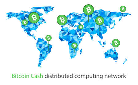 Bitcoin cash cryptocurrency. Abstract wireframe global polygonal background. Vector illustration. Vectores