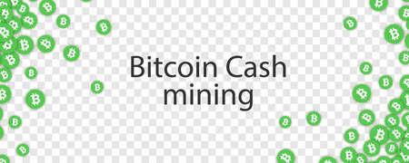 Green Bitcoin cash falling confetti. Vector illustration.