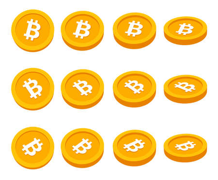 Set of 3d golden Bitcoin icons. Vector illustration.