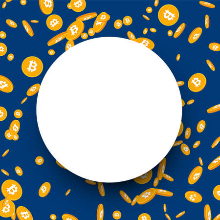 Paper round background with 3d golden Bitcoin coins. Vector illustration.