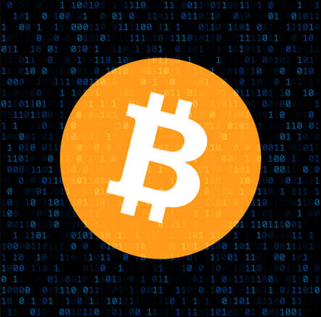 Bitcoin cryptocurrency. Abstract binary background. Vector illustration. Vectores