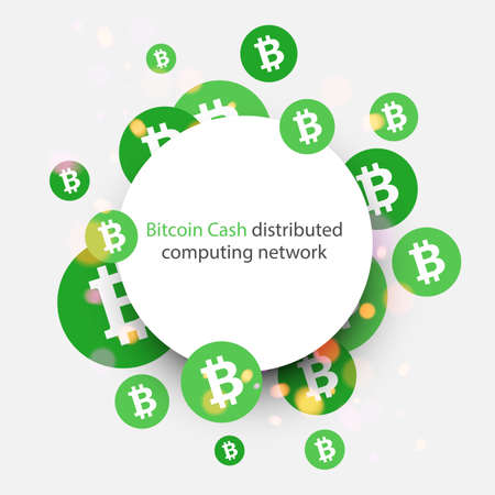 Bitcoin cash cryptocurrency. Abstract round paper background. Vector illustration.