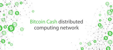 Bitcoin cash cryptocurrency. Abstract wireframe low poly mesh background. Vector illustration.