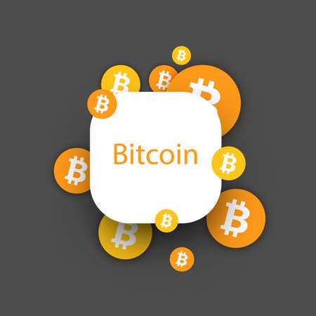 Bitcoin cryptocurrency. Abstract rounded paper background. Vector illustration.