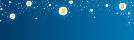 Bitcoin cryptocurrency. Abstract wireframe low poly mesh background. Vector illustration. Vectores