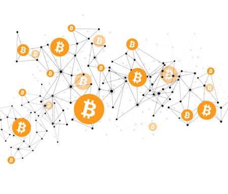 Bitcoin cryptocurrency. Abstract wireframe mesh background. Vector illustration.