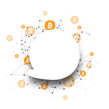 Bitcoin cryptocurrency. Abstract speech bubble mesh background. Vector illustration.