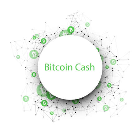 Bitcoin cash cryptocurrency. Abstract wireframe mesh background. Vector illustration. Vectores