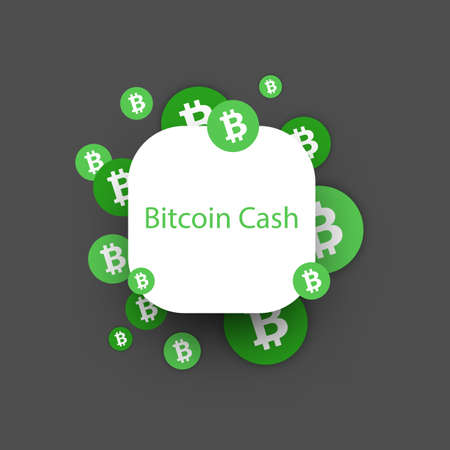 Bitcoin cash cryptocurrency. Abstract rounded paper background. Vector illustration.