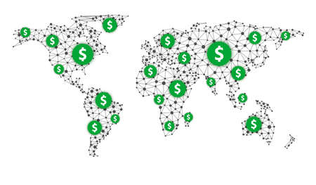 Green dollar block chain network frame.
