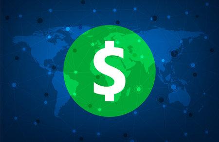 Big green dollar sign over blue world map.