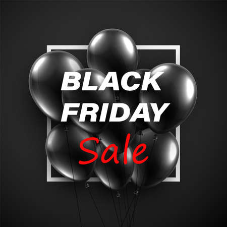 A bunch of black balloons with black friday sale sign. Vector illustration. Ilustração