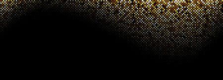 Abstract golden halftone wave pattern on black background. Vector illustration. Ilustração