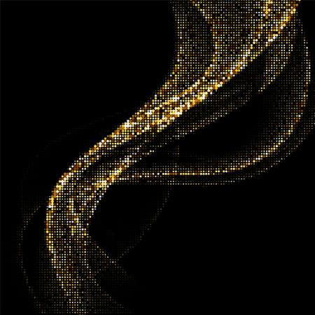 Abstract golden halftone waves pattern on black background. Vector illustration.
