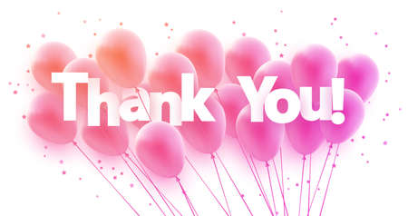 Bunch of pink gradient balloons with stars confetti. Thank you sign. Vector festive illustration.