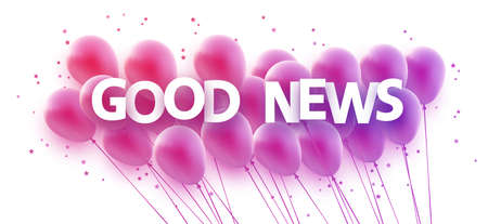 Bunch of pink and violet gradient balloons with stars confetti. Good news sign. Vector festive illustration.