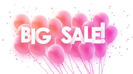 Pink gradient balloons with super sale sign. Stars confetti. For banners, advertising. Vector festive illustration.