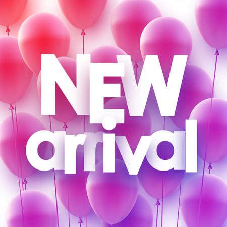 Purple gradient balloons background. New arrival sign. Vector festive illustration. Ilustração