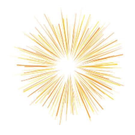 Yellow abstract halftone explosion, star, fireworks, sun rays. Vector illustration.