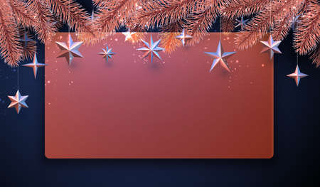Red semi-transparent new year background. Bronze spruce branch with hanging stars. Space for text. Vector winter holiday illustration. Ilustração