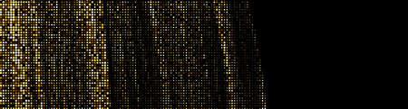 Abstract golden halftone dotted pattern on black background. Banner. Vector illustration. Ilustração